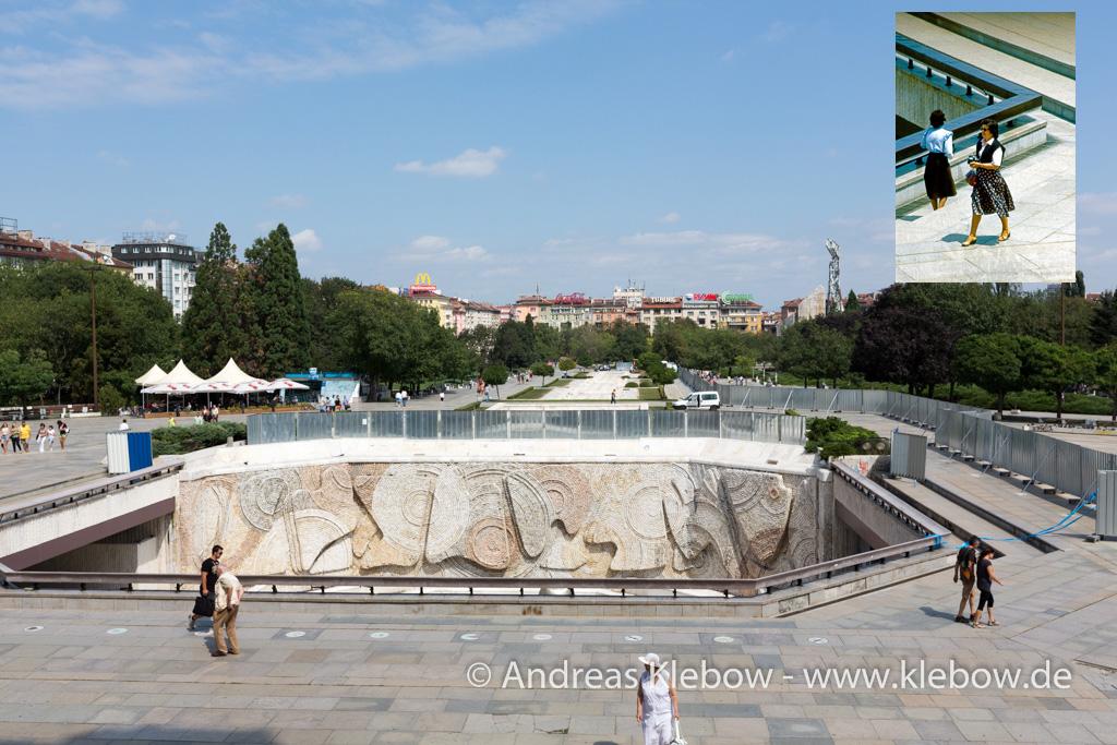 Blick vom Kulturpalast in Sofia über die Skay Plaza