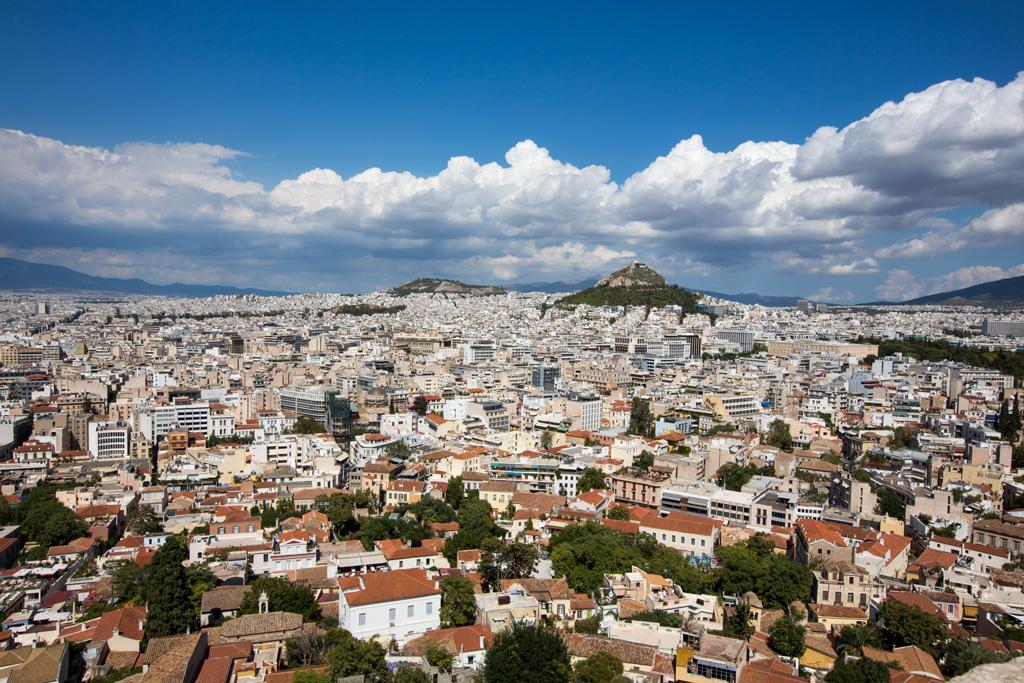 Blick von der Akropolis über Athen